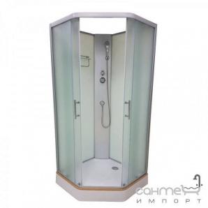 Душовий бокс Veronis BN-1-90 XL профіль хром задні стінки білі двері матові (фабрик)