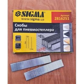 Скобы для пневмостеплера Sigma 5,8х25 мм 5000шт