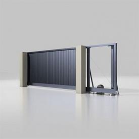 Автоматические откатные ворота Alutech Prestige с приводом Roteo сэндвич-панель S-гофр антрацит (ADS703)