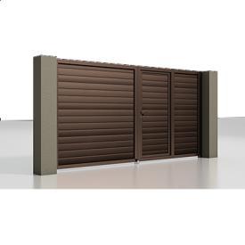 Розпашні ворота Alutech Prestige сендвіч-панель S-гофр шоколад (RAL 8017) з хвірткою