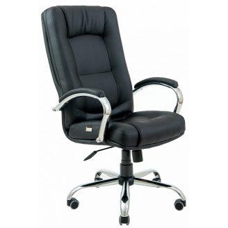 Офисное кресло Richman Альберто-хром 1100-11180х500х450 мм черное для руководителя