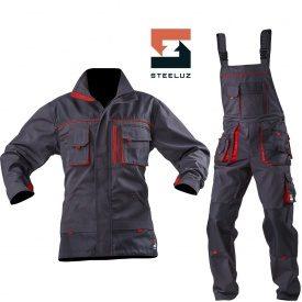 Костюм рабочий SteelUZ куртка+полукомбинезон с красной отделкой 273 г/м2