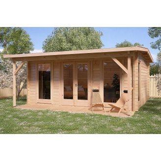 Альтанка дерев'яна з профільованого бруса з закритою кімнатою 5х5
