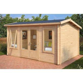 Альтанка дерев'яна з профільованого бруса з закритою кімнатою 3,2x4,4