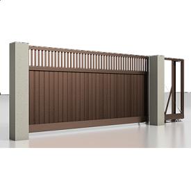 Автоматические откатные ворота Alutech Prestige с приводом Roteo сэндвич-панель S-гофр разреженный профиль шоколад (RAL 8017)