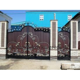 Кованые ворота с профнастилом и ковкой 3.40х2.0 м