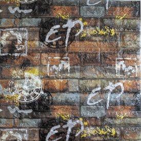 Самоклеющаяся декоративная 3D панель под серо-оранжевый кирпич граффити 700x770x5 мм Os-CZ05