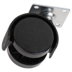 Ролик пластиковый с площадкой Ferro Fiori R 10070 d=40, нагрузка 22 кг черный