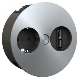 TWIST розеточный блок 1xРозетка 1xUSB- зарядный модуль двойной