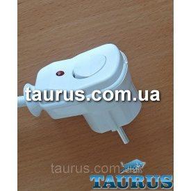 Вилка з кнопкою біла +заземлення для підключення потужних електроприладів до 3500W 16А з індикатором Польща