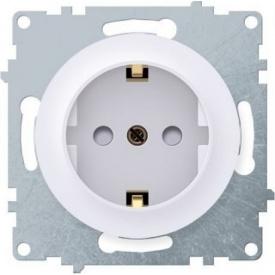 Розетка OneKeyElectro Florence з заземленням захисні шторки гвинтові контакти біла 1E10101300