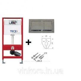 Инсталляционная система для унитаза TECE base (9400006) с квадратной двойной кнопкой