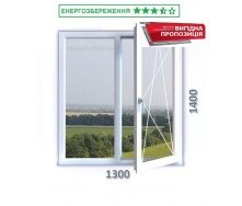 Окно 1300x1400 мм 3-камерный профиль WDS CLASSIC с энергосберегающим однокамерным стеклопакетом