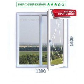Вікно 1300x1400 мм 3-камерний профіль WDS CLASSIC з енергозберігаючим однокамерним склопакетом