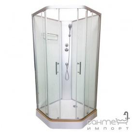 Пентагональный душовою бокс без даху Veronis BN-1-90 профіль білий задні стінки білі прозорі двері