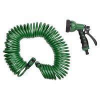 Набор поливочный шланг спиральный 15 м + пистолет распылитель 7-ми режимный Grad (5019075)