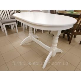 Дерев'яний стіл Гостинний 120х80 см овальний розкладний білий