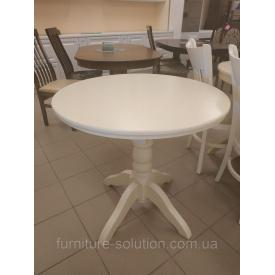 Дерев'яний стіл Гостинний 80 см круглий суцільний айворі слонова кістка
