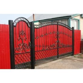 Розпашні ворота з хвірткою Код Z-0166 Дешева ковка
