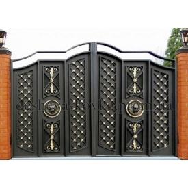 Ковані ворота закриті з хвірткою Код В-0107 Дешева ковка