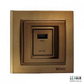 Розетка USB MONO Elecric Despina бронза
