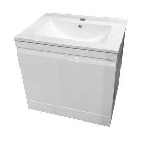 ORLANDO комплект мебели 60 см белый тумба подвесная со скрытым ящиком + умывальник накладной