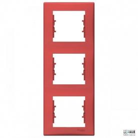 Рамка чотиримісна вертикальна Schneider Sedna червона