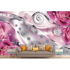 Фотообои 3Д розы со стразами в розовых тонах
