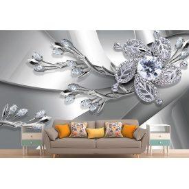 Фотообои 3Д брошь из серебра и бриллиантов