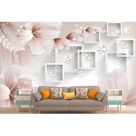 Фотообои 3Д цветы и бабочки на стене