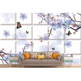 Фотообои 3Д голубая сакура на белых плитах