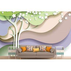 Фотошпалери 3Д абстрактні дерева кольорові хвилі
