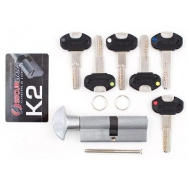 Цилиндр Securemme 30/30 мм 5 кл 1 монтажный ключ/ручка матовый хром