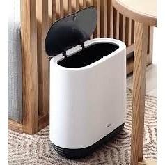 Ведро для мусора MVM пластиковое 10л бело\черный
