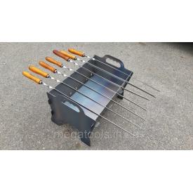 Мангал складной на 7 шампуров стальной 470х300х300 мм