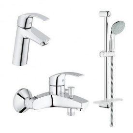 Акционный набор смесителей 3 в 1 умывальник, ванна, стойка Grohe Eurosmart 123246M