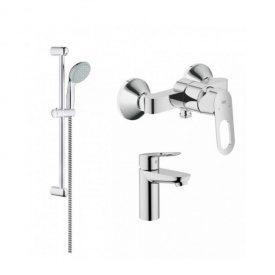 Комплект смесителей Grohe умывальник, душ и стойка для душа BauLoop 123220S