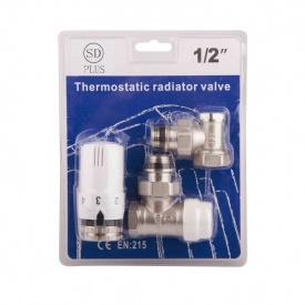 Комплект кранов с термоголовкой радиаторный угловой SD SD352W15 1/2''