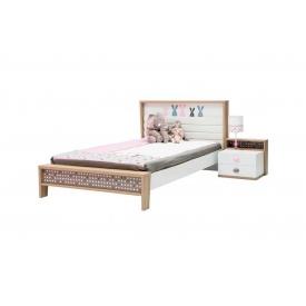 Дитяче ліжко Bunny з ДСП/МДФ 90x200 біле дерево