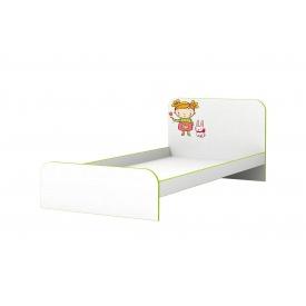 Дитяче ліжко Яблучко без бортика з ДСП/МДФ 90x190 кольору біле дерево