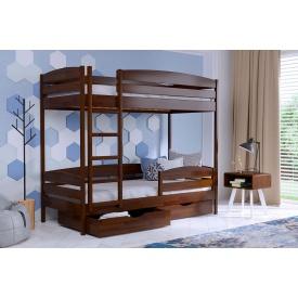 Двухъярусная кровать Дуэт Плюс из бука с технологией щит 80x200 с 4 см между ламелями тёмный орех (101)