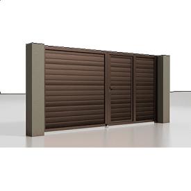 Распашные ворота Alutech Prestige сэндвич-панель S-гофр шоколад (RAL 8017) с калиткой