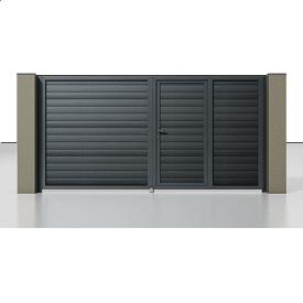 Распашные ворота Alutech Prestige сэндвич-панель S-гофр серый антрацит (RAL 7016) с калиткой
