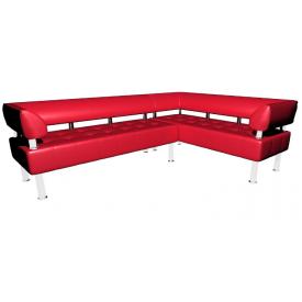 Кутовий офісний диван Тонус Sentenzo 2200х1600х700 мм червоний з підлокітниками