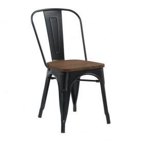 Металевий стілець Толикс Вуд 620х450х520 мм глянцевий чорний