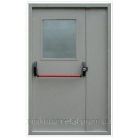Противопожарная дверь со стеклом 2100х1200 мм Міськбудметал ДМП 21-12 EI60 CА