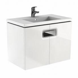 TWINS шкафчик под умывальник 80 см с дверцей белый глянец