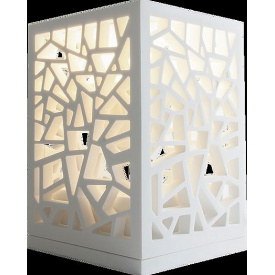 Світильник декоративний ажурний 150x150x220 мм кам'яний Solid surface