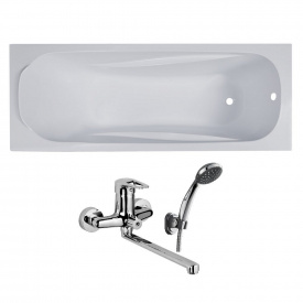Комплект FIESTA ванна 150x70x43,5 см без ножек + Подарок NARCIZ смеситель для ванны хром L-излив 325 мм
