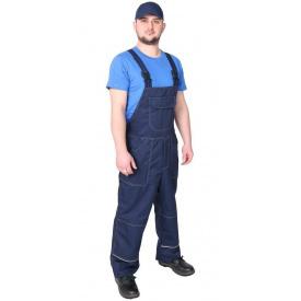 Спецодяг літній напівкомбінезон робочий Будівельник саржа 35% бавовни темно-синій